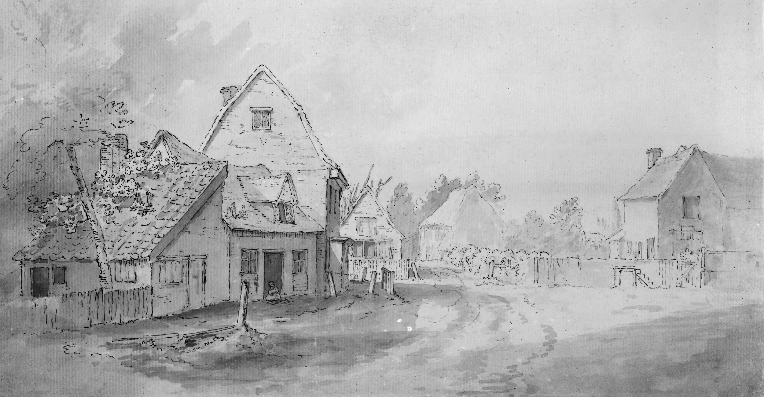 John Constable drawing of the street East Bergholt